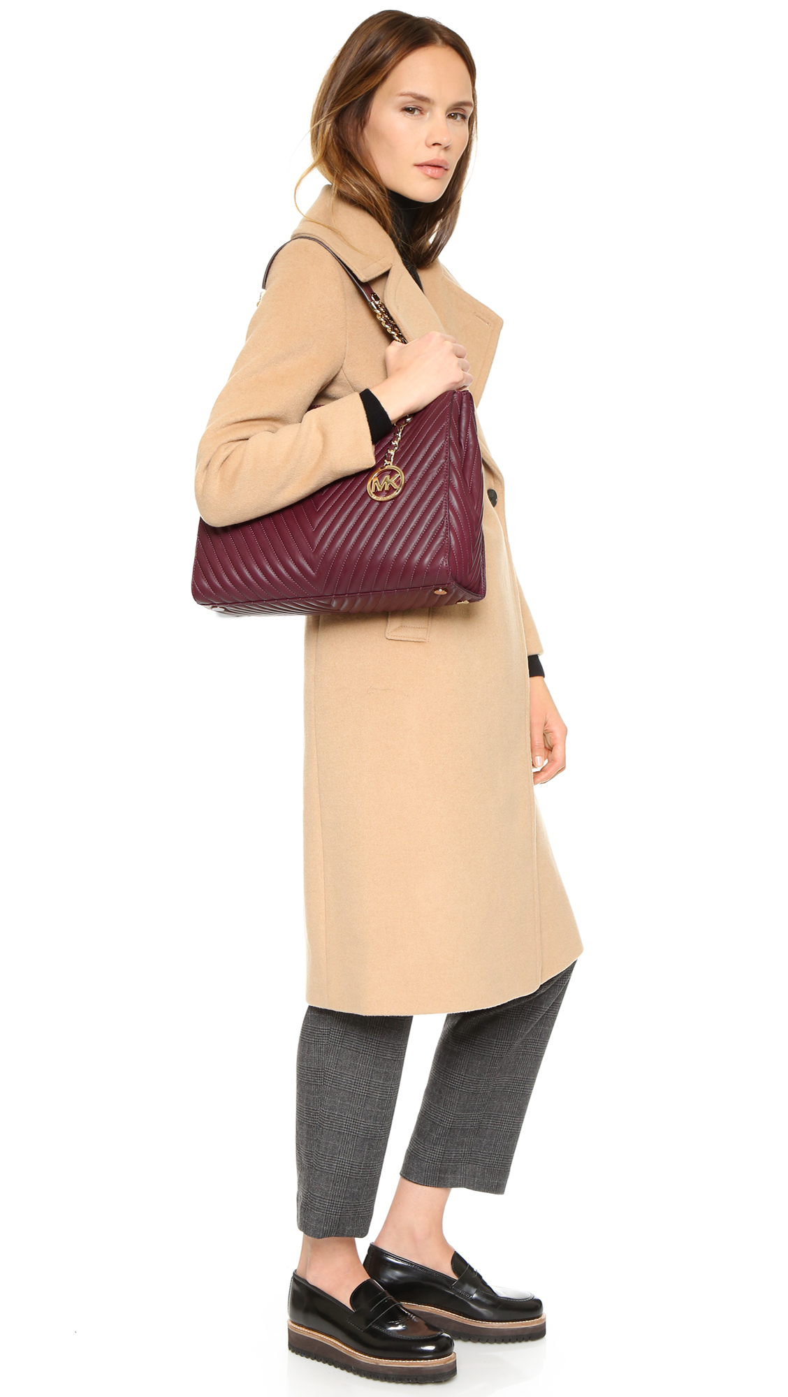 1d46e2c26cff8 Lyst - Michael Michael Kors Susannah Quilted Tote in Purple
