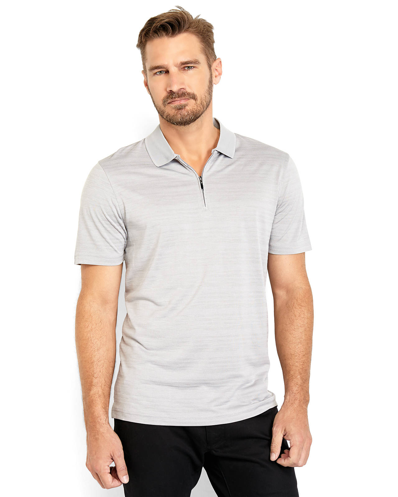Perry Ellis Marled Knit Quarter-Zip Polo In Gray For Men