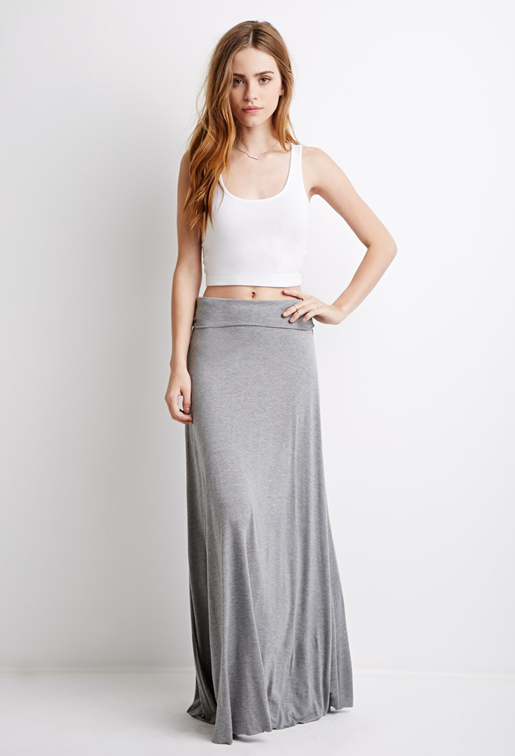 23d520691c Forever 21 Classic Fold-over Maxi Skirt in Gray - Lyst