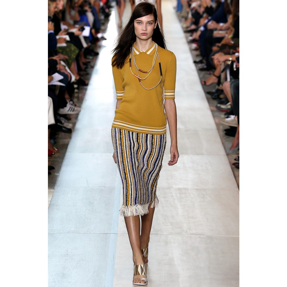 8e1070f5a0929 Lyst - Tory Burch Crochet Knit Skirt