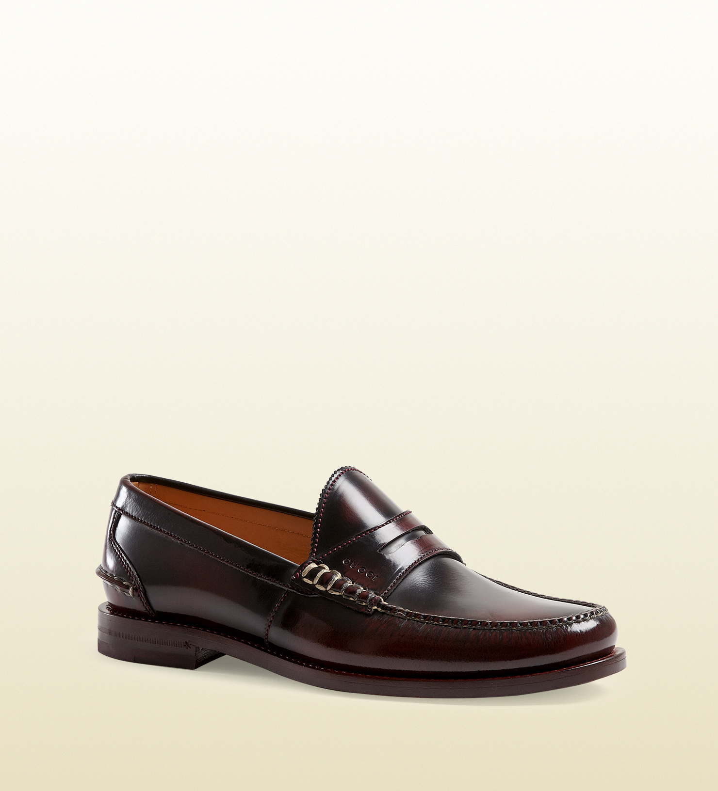 e4ebc91cb14 Lyst - Gucci Polished Leather Penny Loafer in Purple for Men
