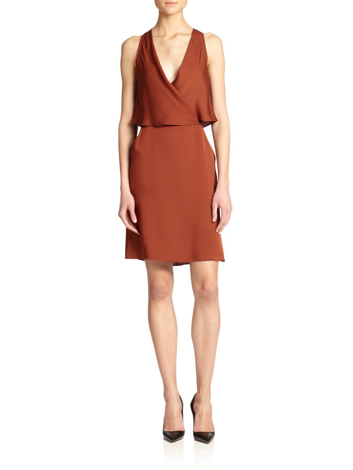 Theory Osteen Silk Surplice Dress in Brown | Lyst