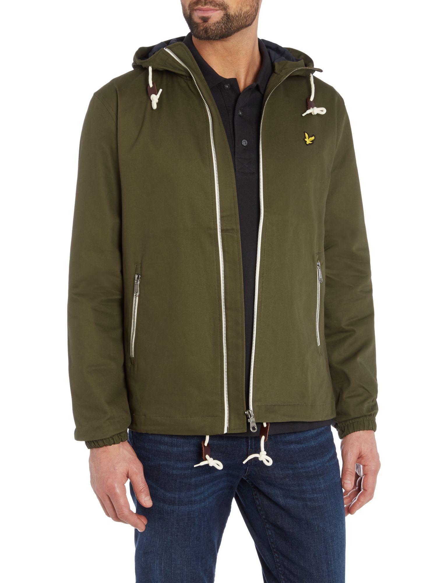 Lyle & scott Hooded Twill Jacket in Green for Men | Lyst