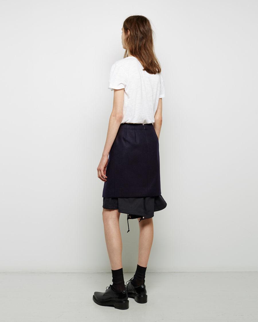 sacai layered wool skirt in blue lyst