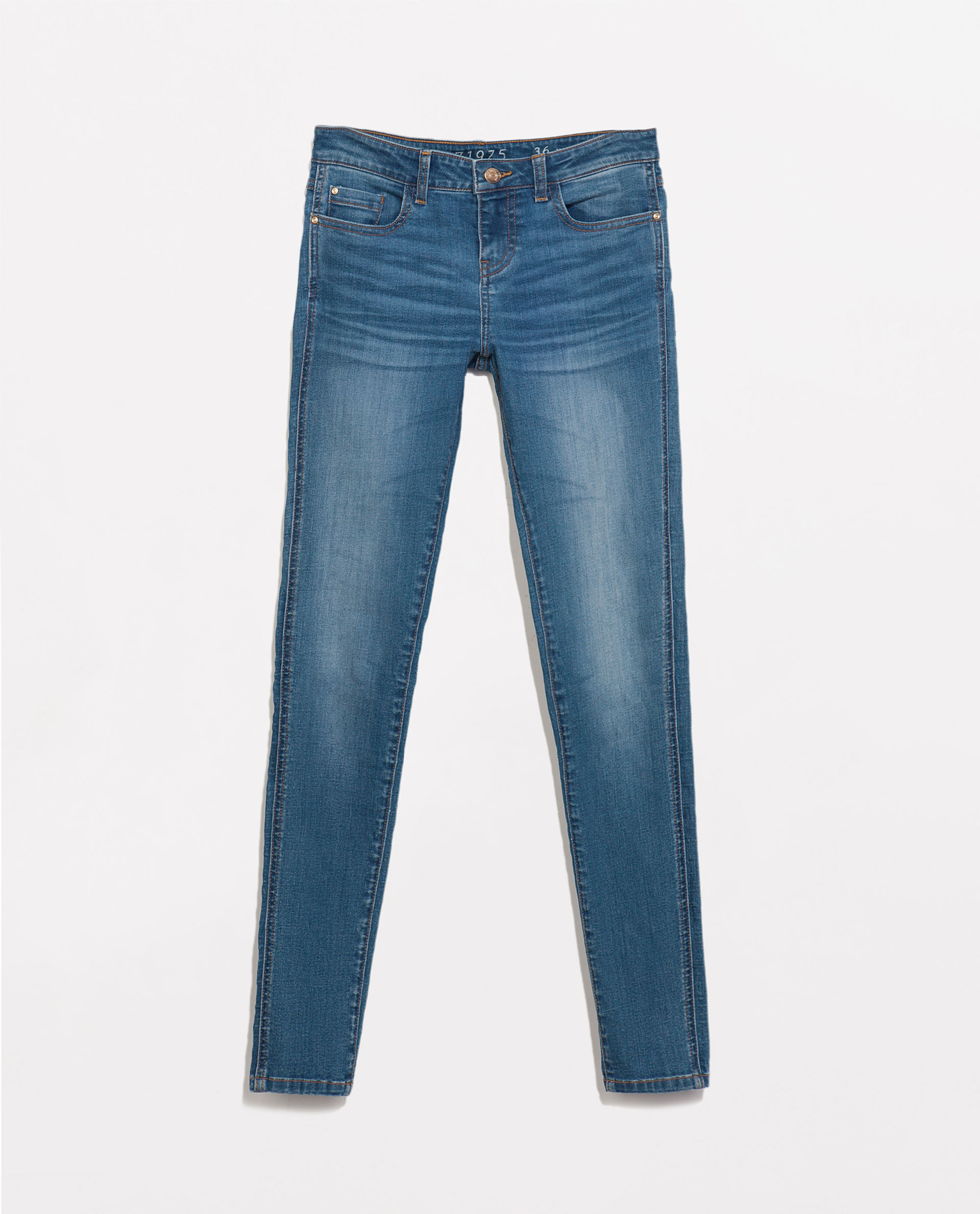 Zara Mid Rise Denim Jeans In Blue Lyst