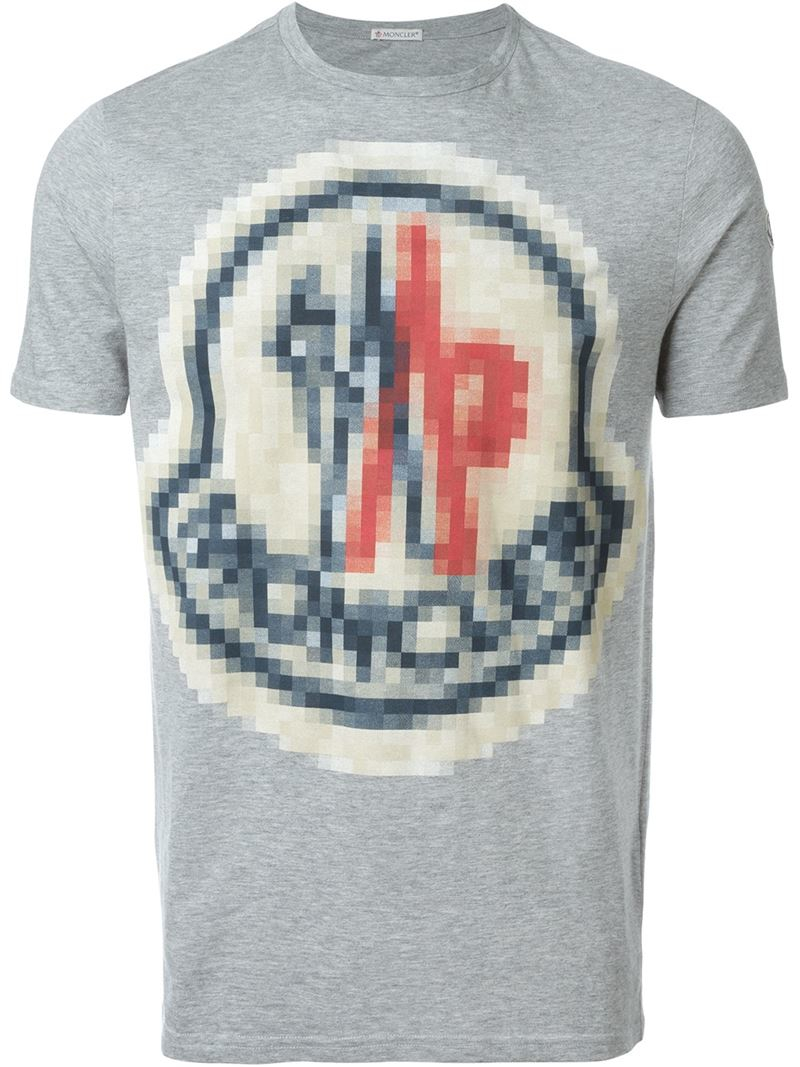 2404432fb Lyst - Moncler Pixel Logo Print T-shirt in Gray for Men