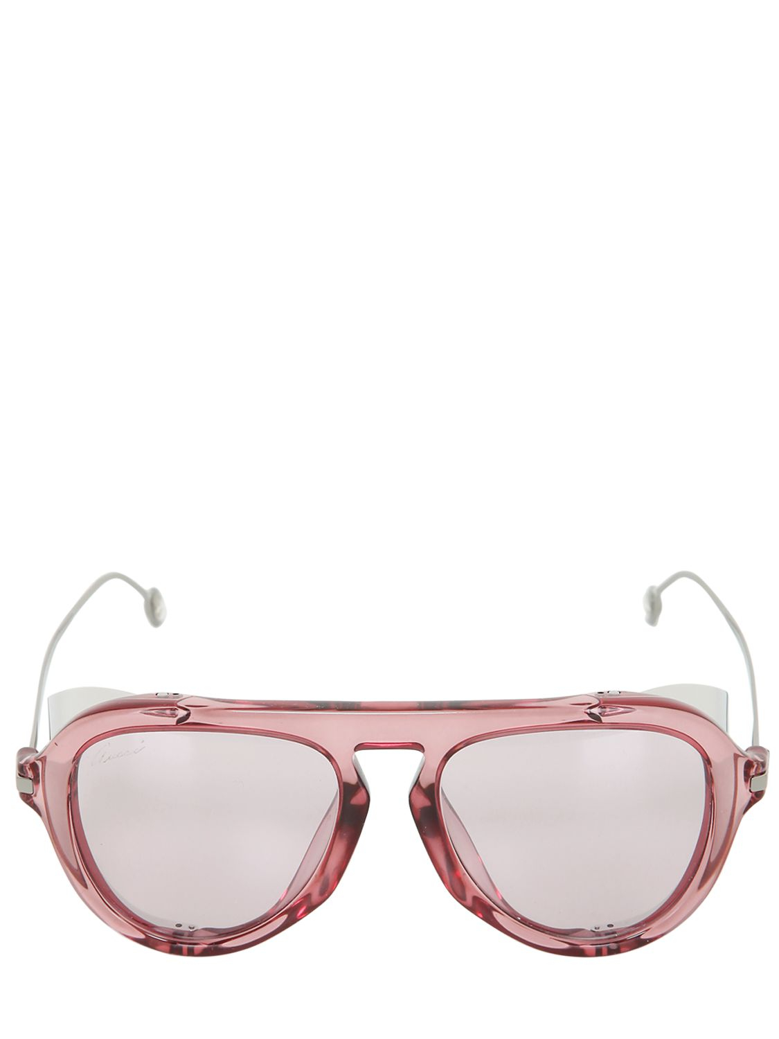 Gucci Aviator Sunglasses W/ Metal Blinders in Pink | Lyst