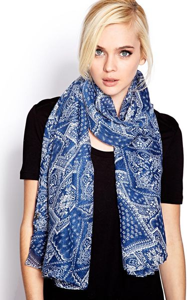 Forever 21 Cool Bandana Print Scarf In Blue Navy Cream