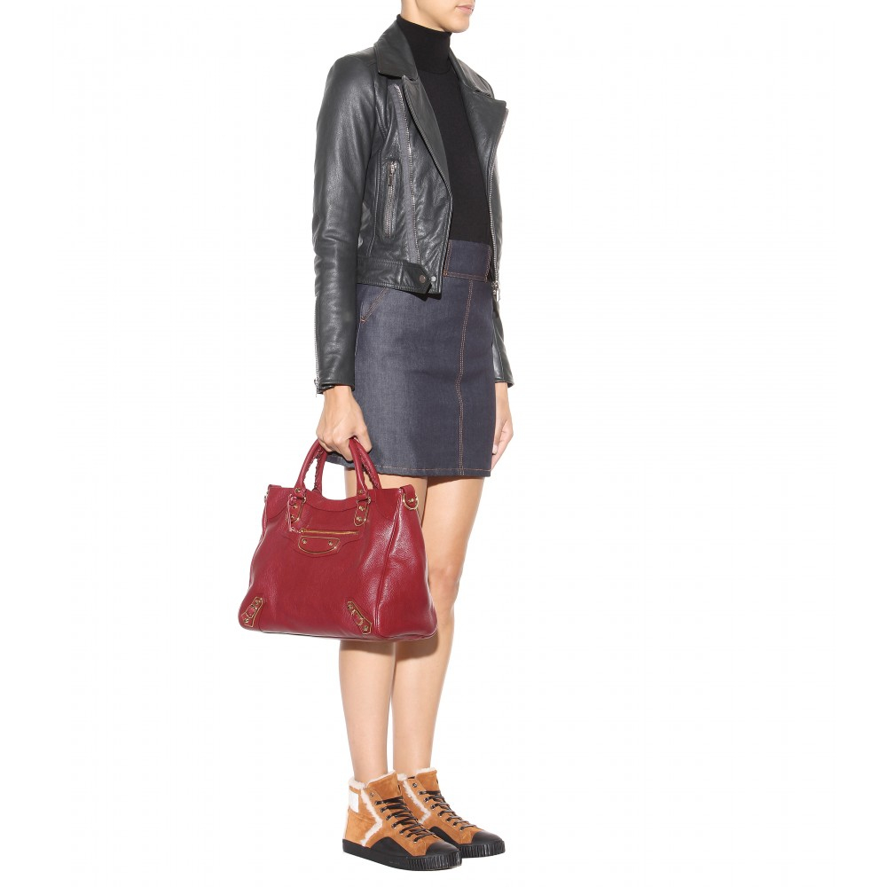 54c8e38f1d9 Balenciaga Giant 12 Velo Metallic Edge Leather Tote in Red - Lyst