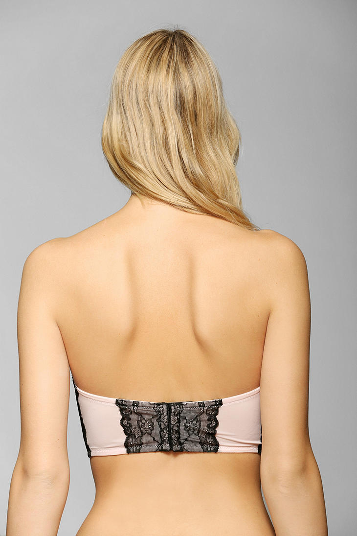 17e686464795d Lyst - Betsey Johnson Strapless Lace Bustier Bra in Pink