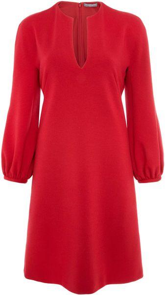 Alexander Mcqueen Red Long Sleeve Wool Dress In Red Lyst