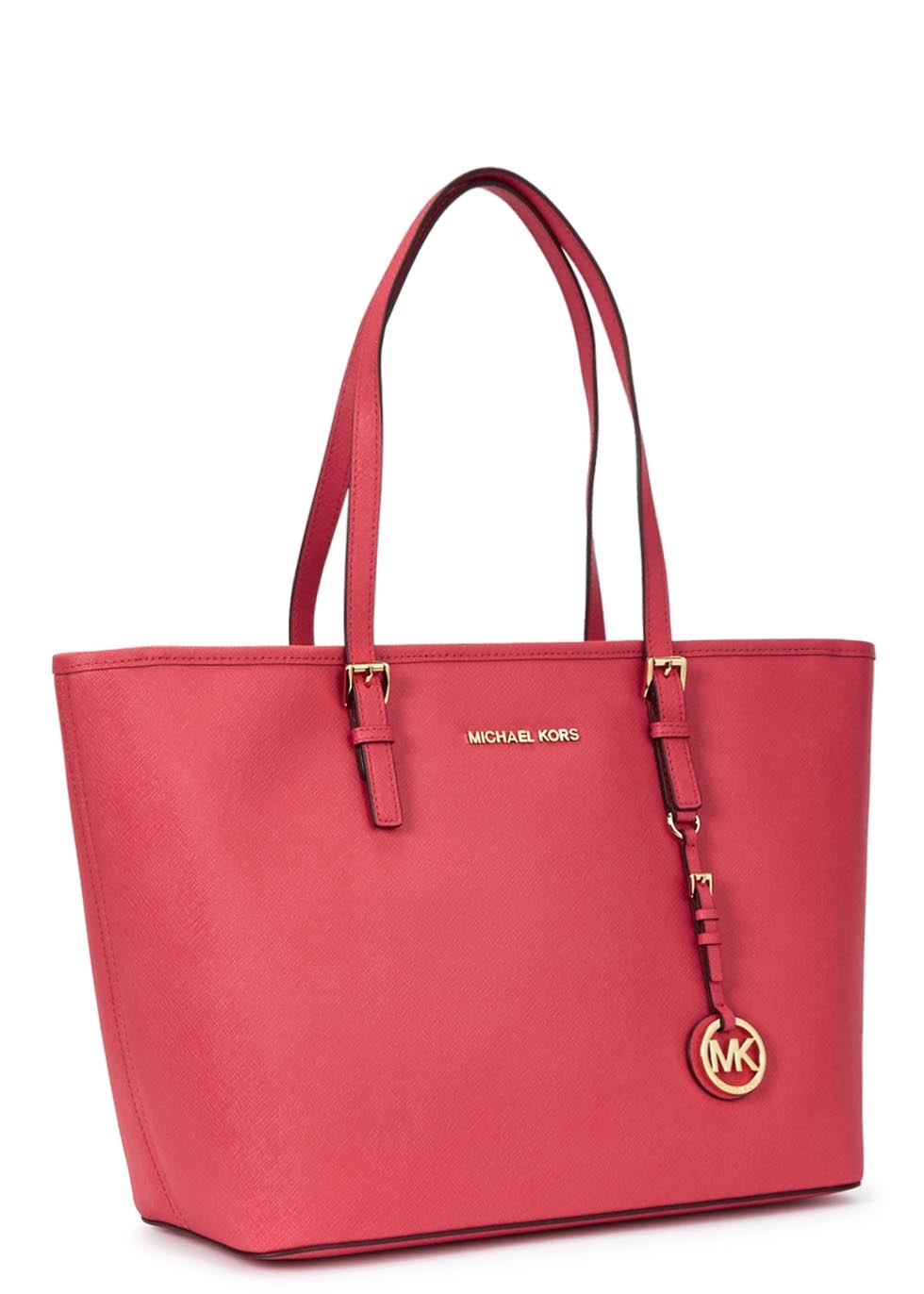 658b84c90b9721 ... low price michael kors jet set travel coral leather tote in pink lyst  13941 03ca4