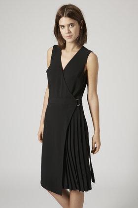 88f4aa43b TOPSHOP Pleated Wrap Midi Dress in Black - Lyst