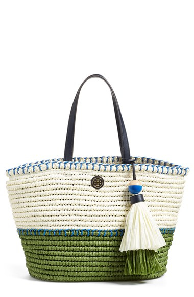 28a26a1bc7a Lyst - Tory Burch  small  Colorblock Straw Tote in White