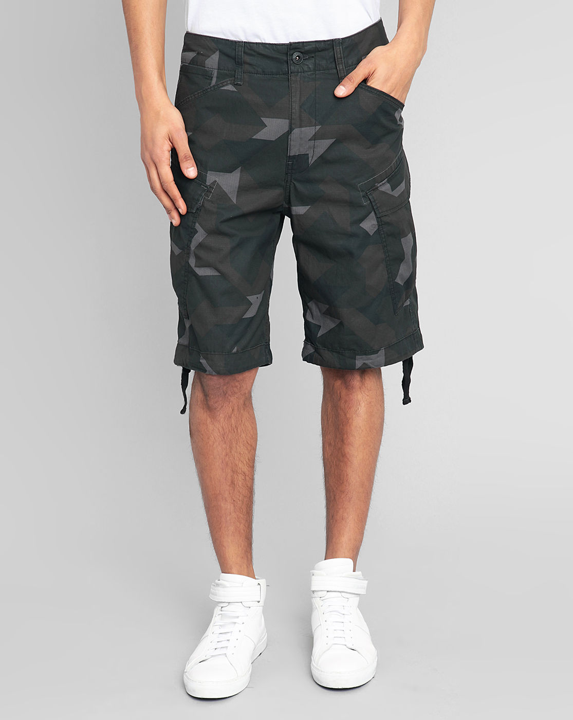 star raw green camo grey rovic combat cargo bermuda shorts for men. Black Bedroom Furniture Sets. Home Design Ideas