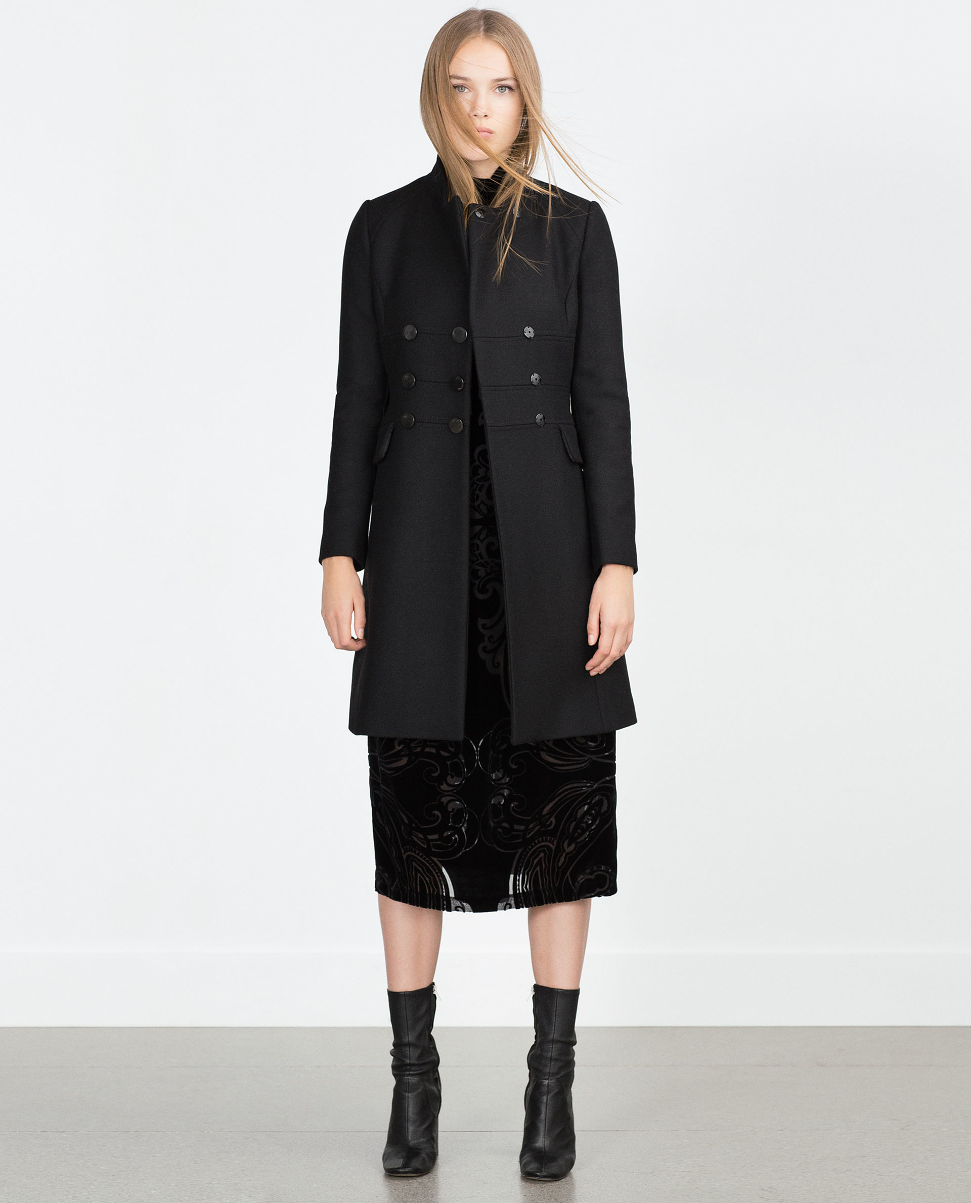 Zara Tailored Coat in Black | Lyst