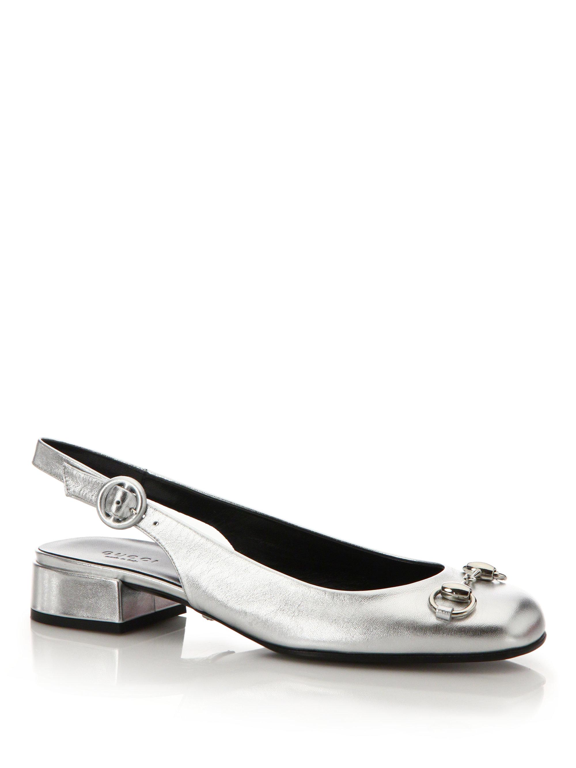 Lyst - Gucci Lillian Metallic Leather Slingback Flats in Metallic