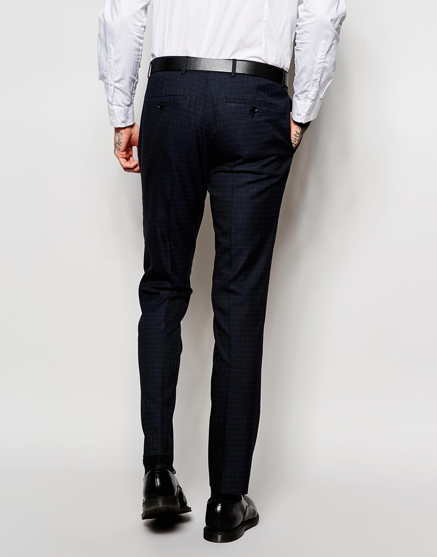Asos Wedding Super Skinny Suit Trousers In Navy in Blue for Men | Lyst