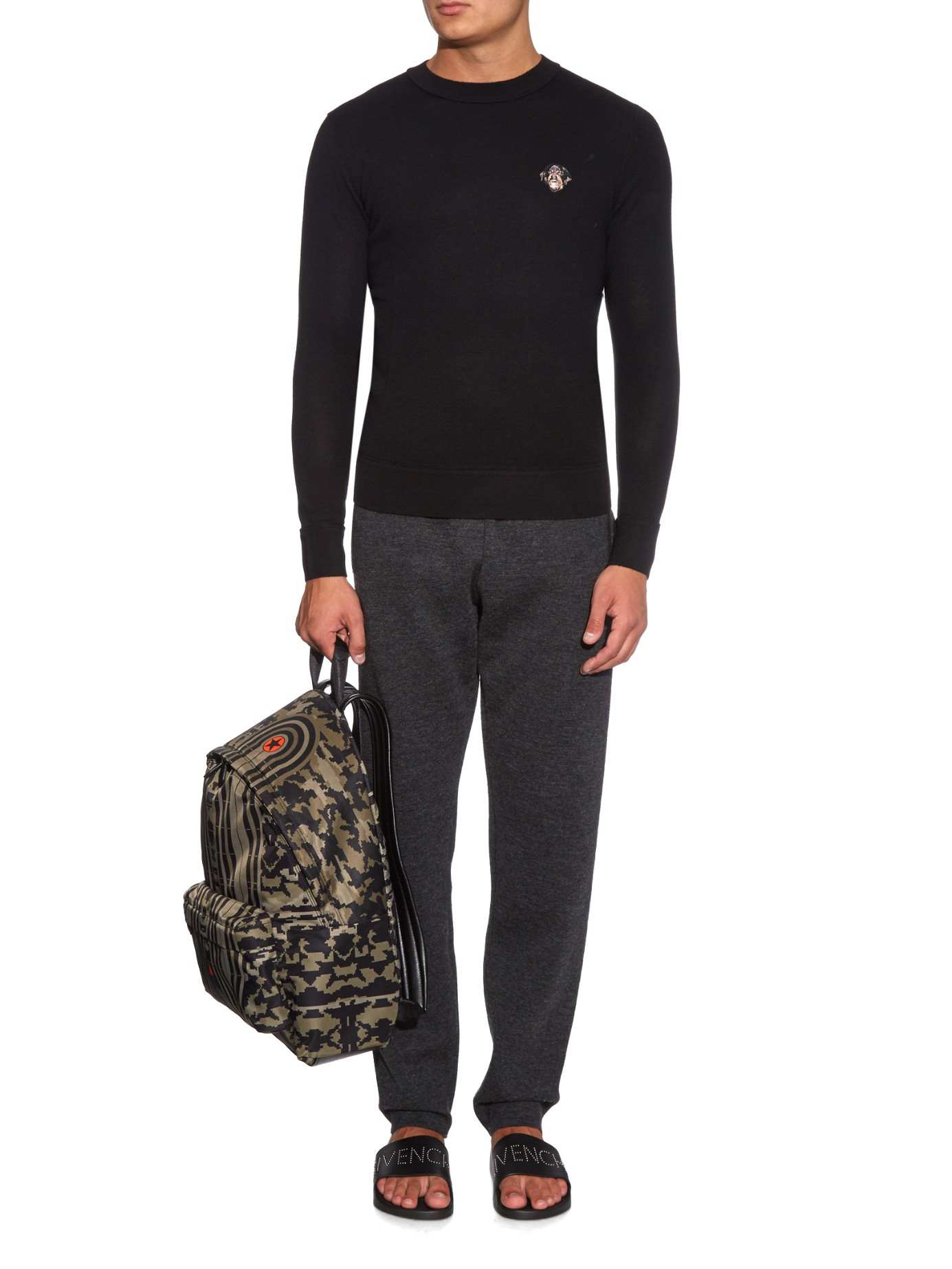 Givenchy Rottweiler Embroidered Wool Sweater In Black For Men Lyst