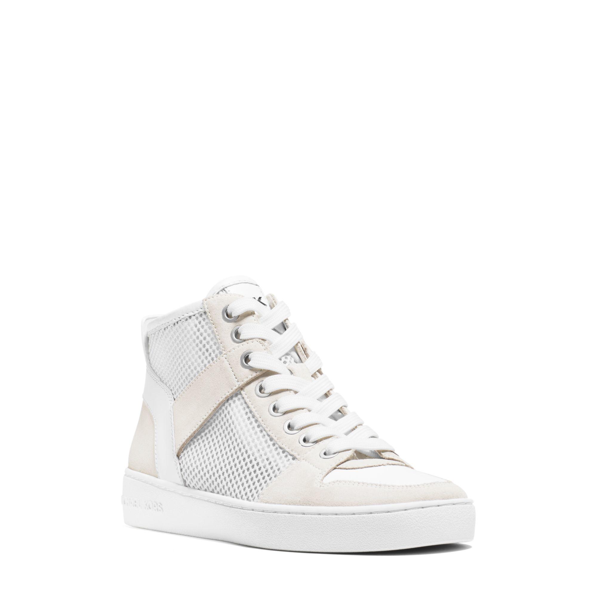 michael kors matty high top mesh sneaker in white lyst. Black Bedroom Furniture Sets. Home Design Ideas