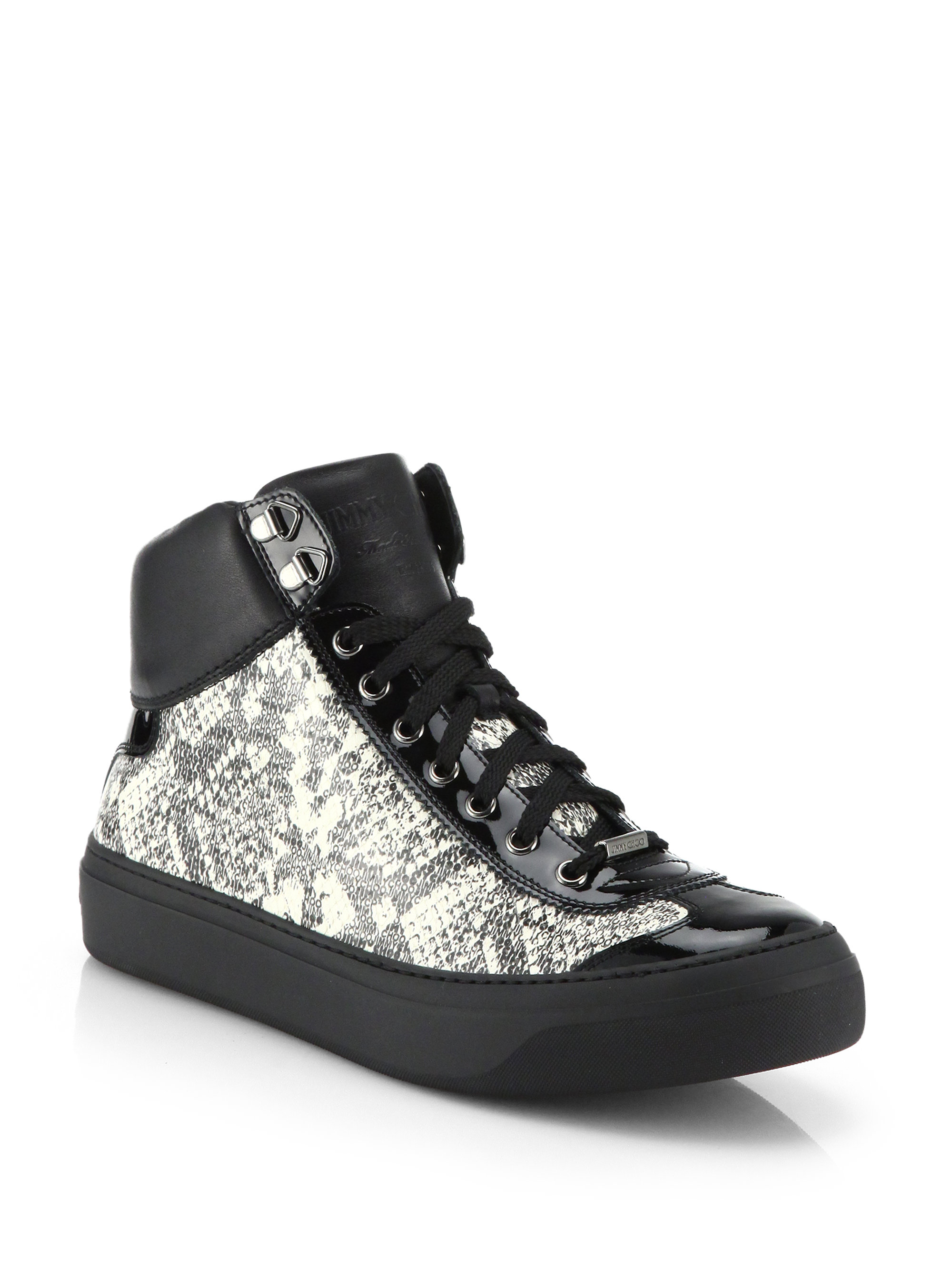 626fa58cc88f ... free shipping lyst jimmy choo argyle snake print high top sneakers for  men 60300 4ca15