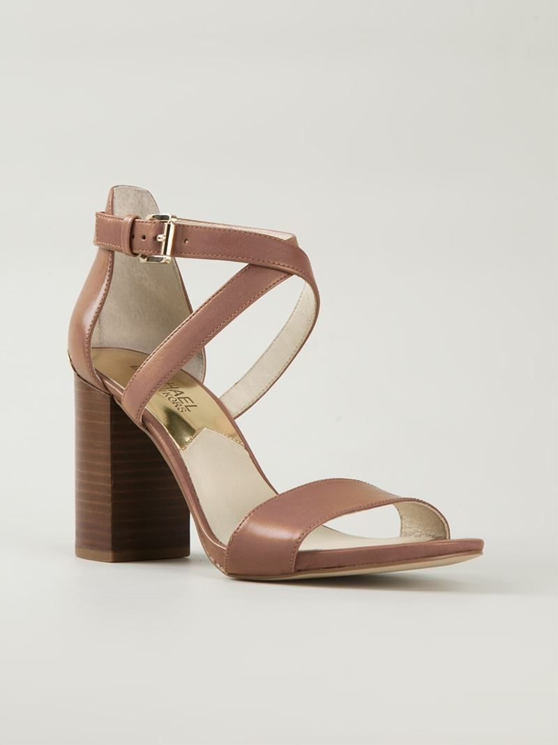 Lyst - Michael michael kors Chunky Heel Sandals in Brown