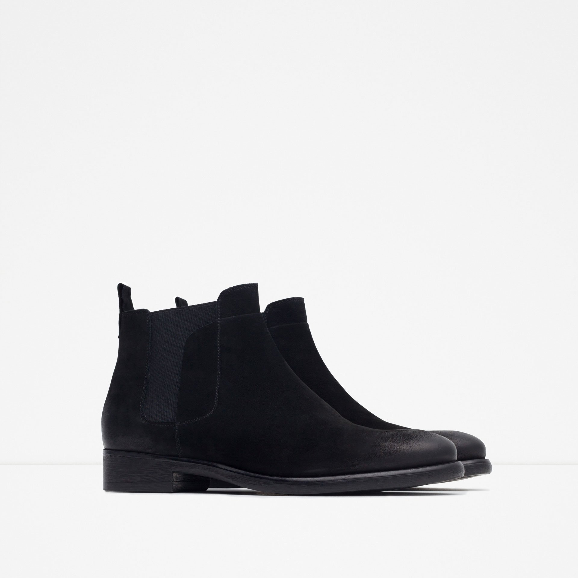 zara leather chelsea boots in black for lyst