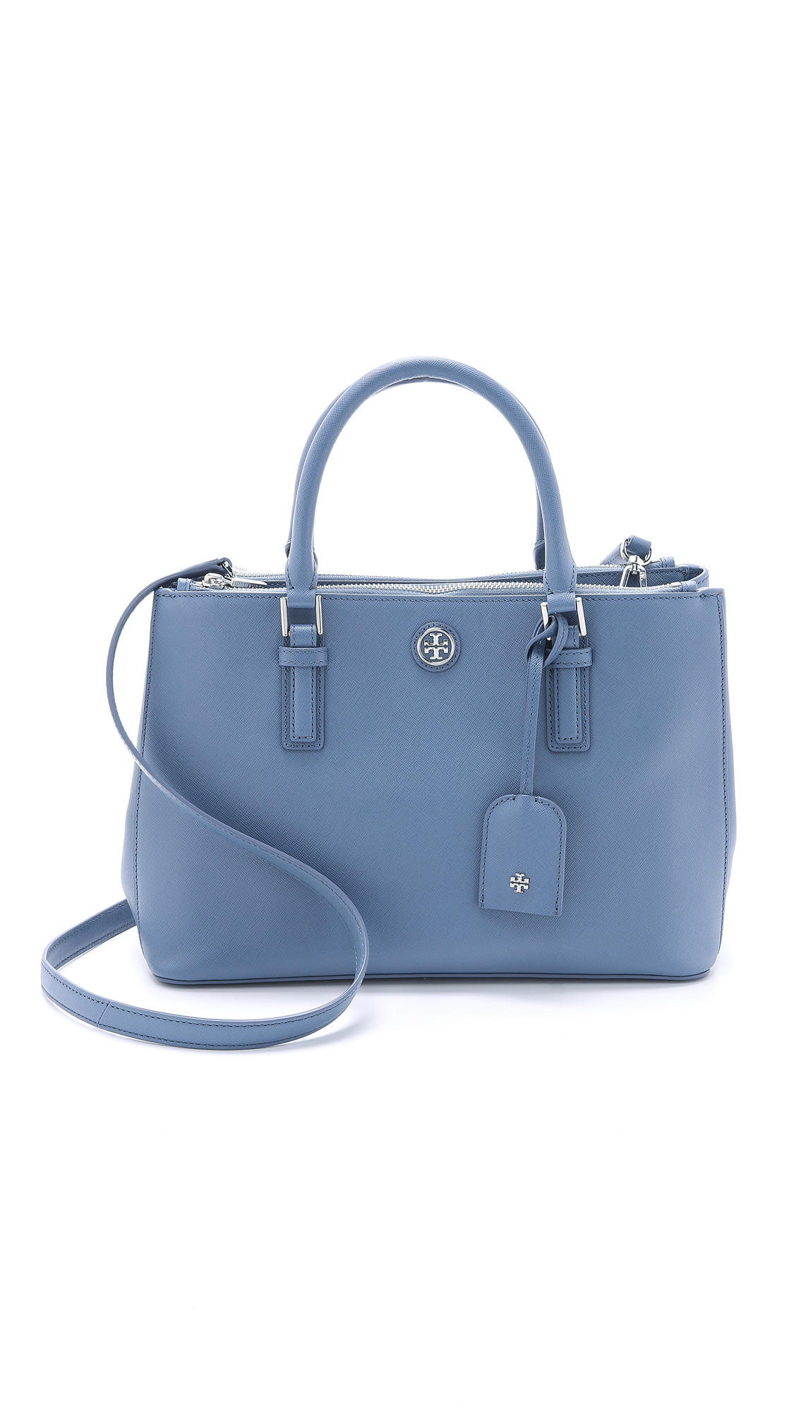 9f80169a1d6 Tory Burch Robinson Mini Double Zip Satchel in Blue - Lyst