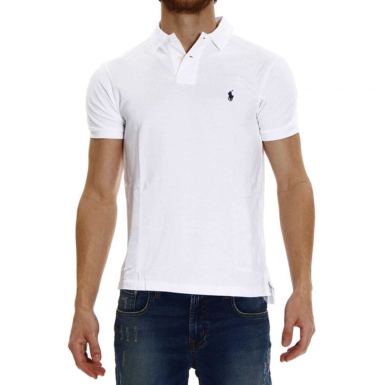 polo ralph lauren short sleeve smocking slim fit polo t shirt in white for men lyst. Black Bedroom Furniture Sets. Home Design Ideas