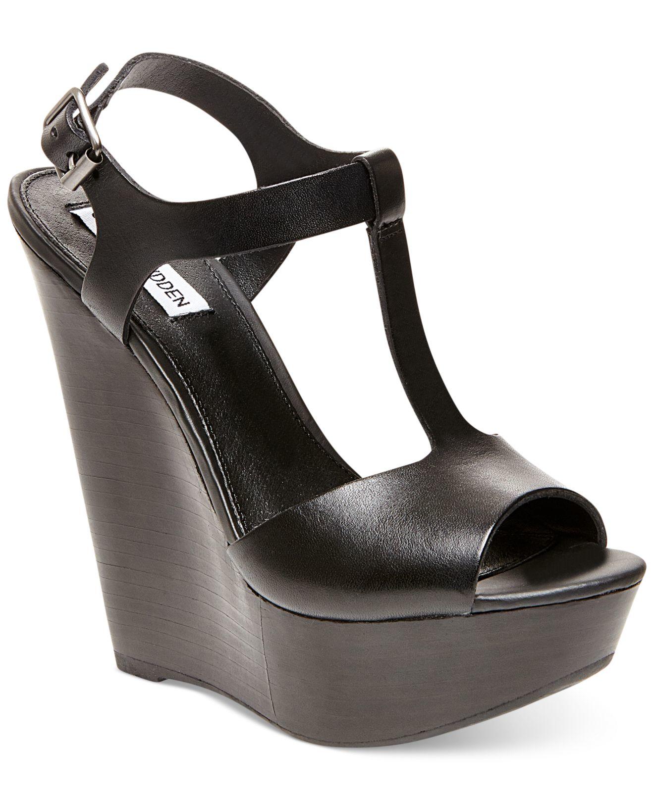 64845f0f3e8 Lyst - Steve Madden Women S Bittles Platform Wedge Sandals in Black