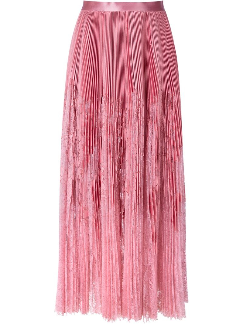 mcqueen pleated lace panel skirt in pink lyst