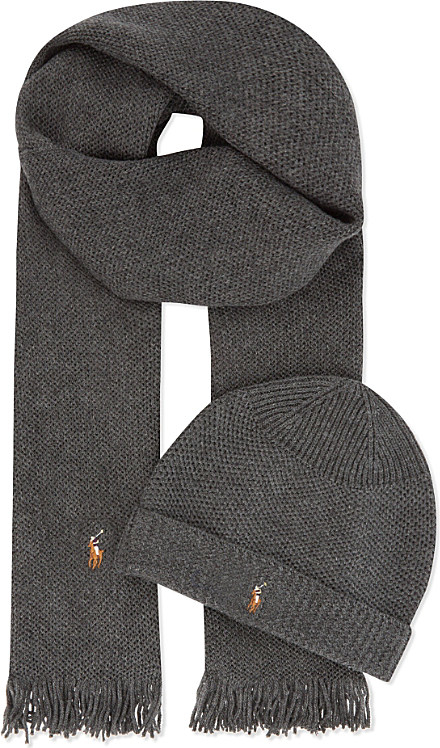 493627193 ... coupon code for ralph lauren merino wool scarf and hat set in black for men  lyst