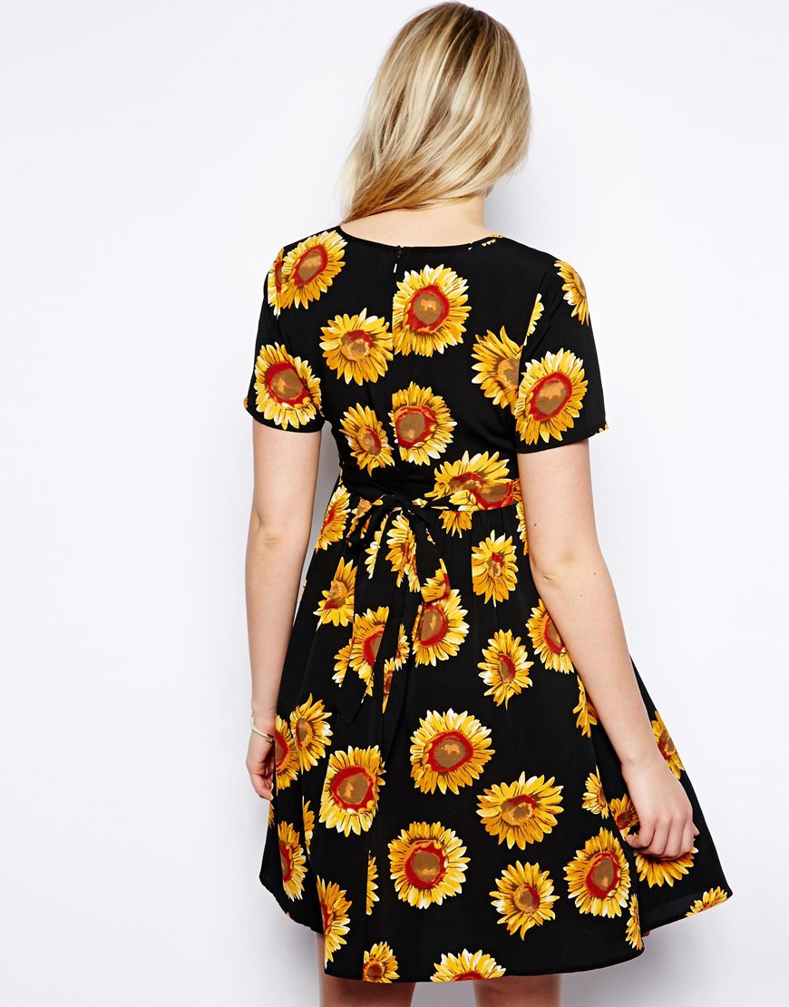 Asos Exclusive Skater Dress In Sunflower Print In Black Lyst