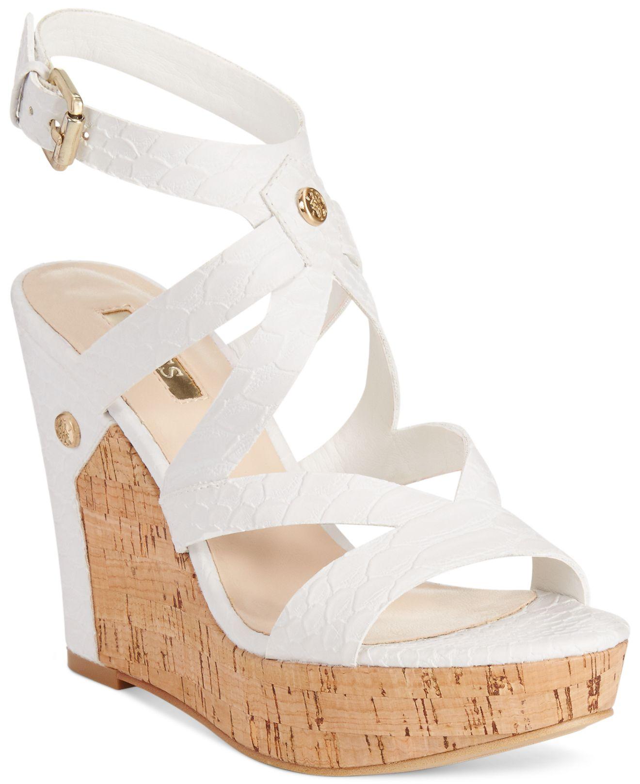 3c2bcf5ff Guess Women'S Harlee Cork Platform Wedge Sandals in White - Lyst