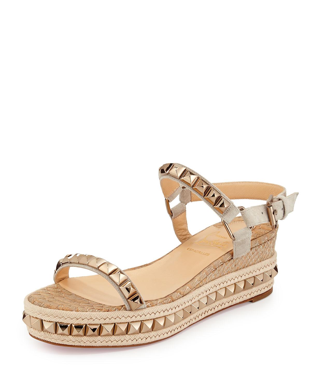 replica louboutin men shoes - Christian louboutin Cataclou Studded Espadrille Sandals in Beige ...