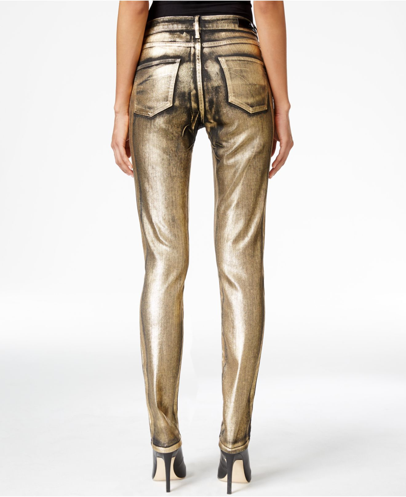 Calvin klein jeans Ultimate Gold Metallic Skinny Jeans in Metallic ...