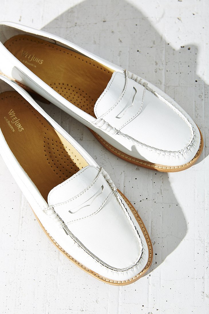 28a590f8bdb Lyst - G.H.BASS Patent Wayfarer Penny Loafer in White