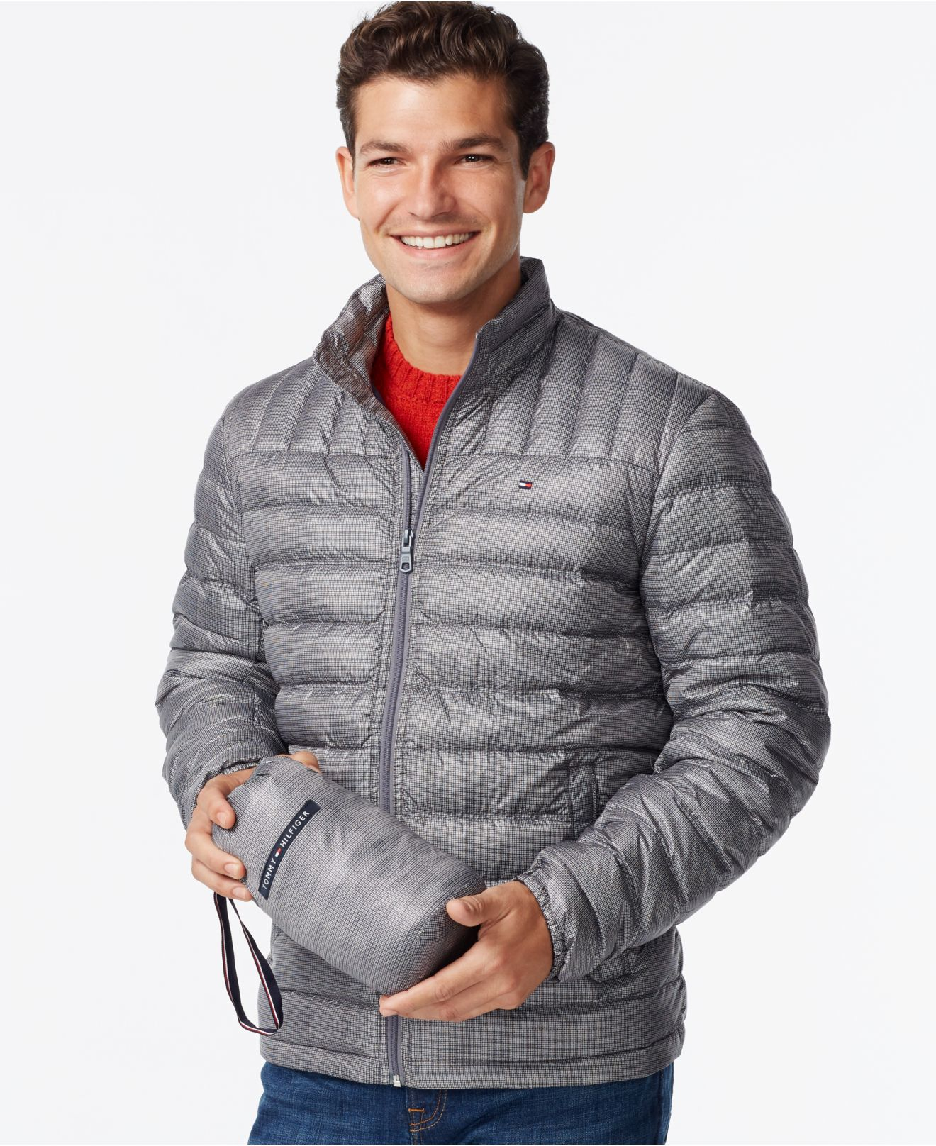Tommy hilfiger Nylon Packable Jacket in Gray for Men - Save 65% | Lyst