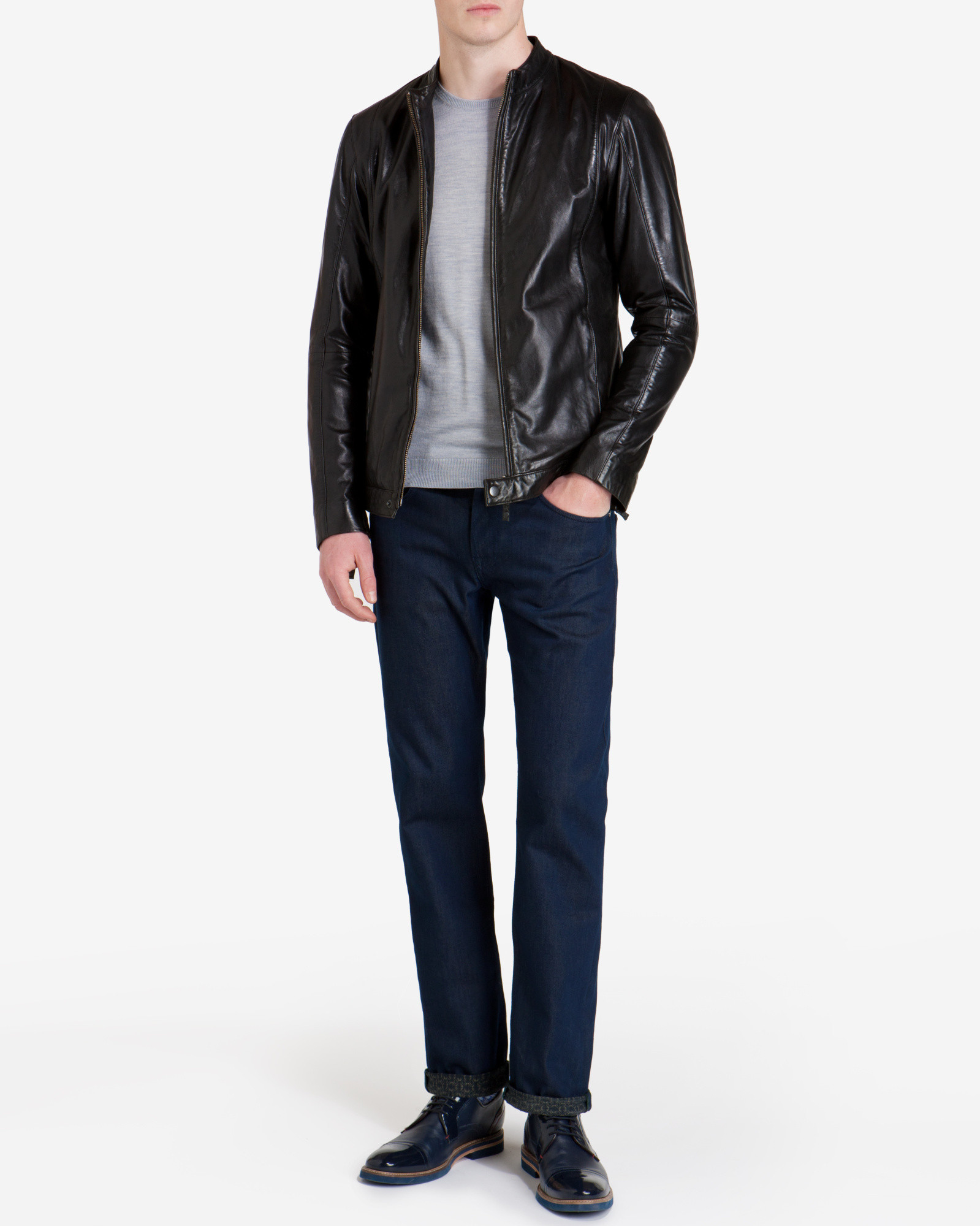 86c93d8d398068 Lyst - Ted Baker Kennit Stab Stitch Front Leather Jacket in Black ...