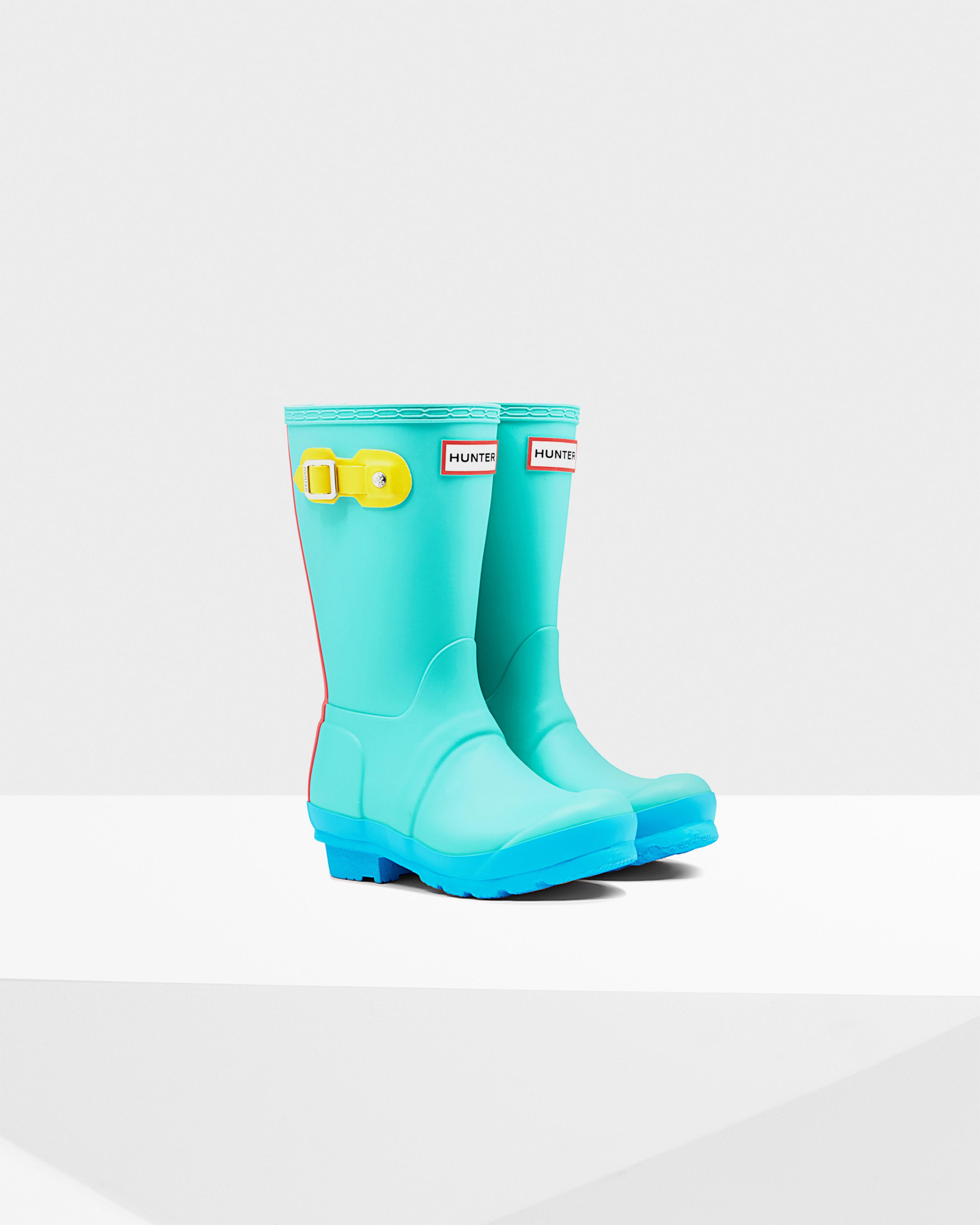 Hunter Original Kids' Contrast Sole Rain Boots in Green | Lyst