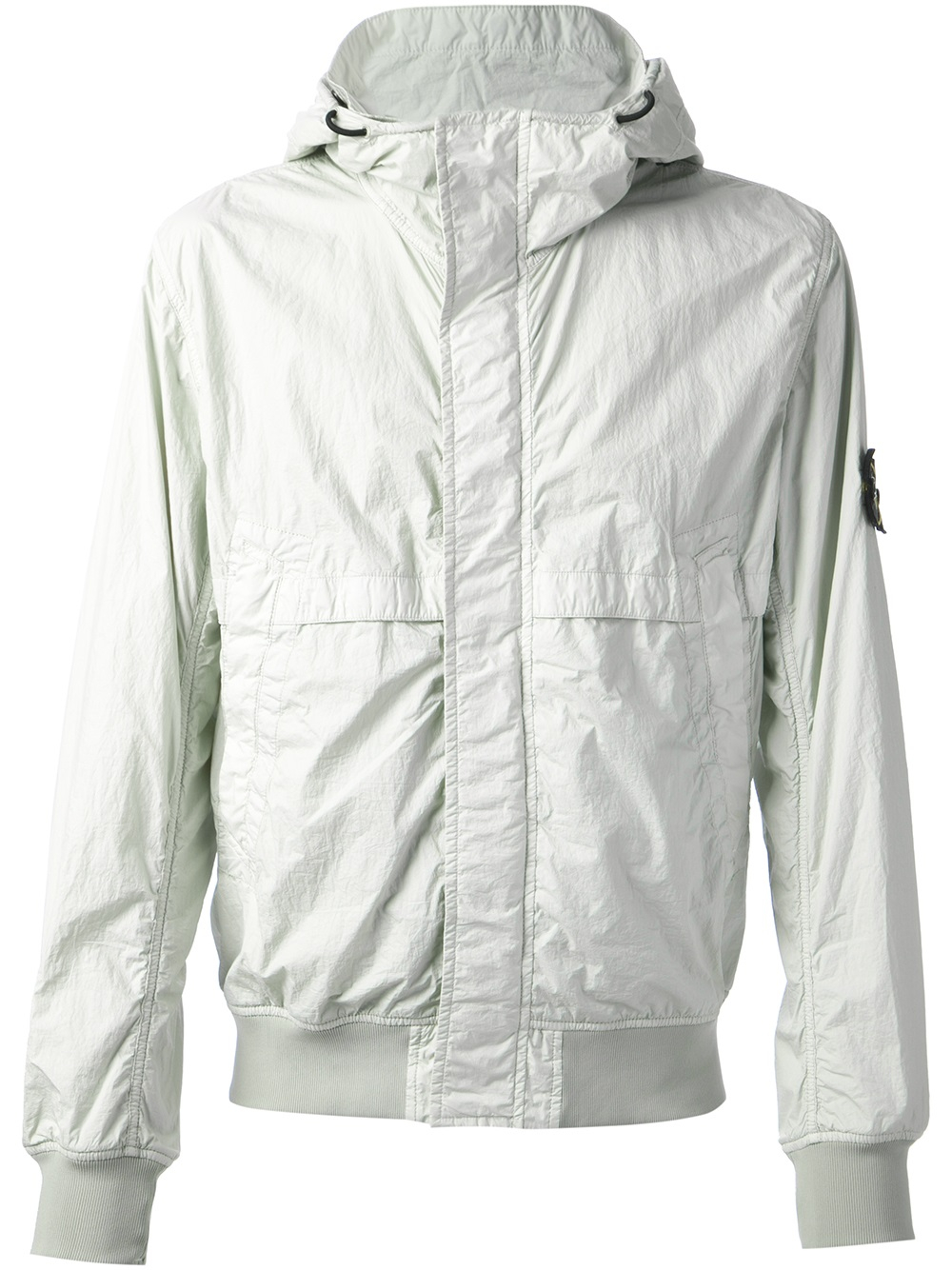 lyst stone island hooded windbreaker jacket in white for men. Black Bedroom Furniture Sets. Home Design Ideas
