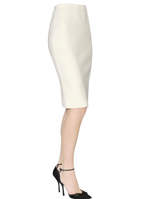 Giorgio armani High Waist Viscose Knit Pencil Skirt in White | Lyst