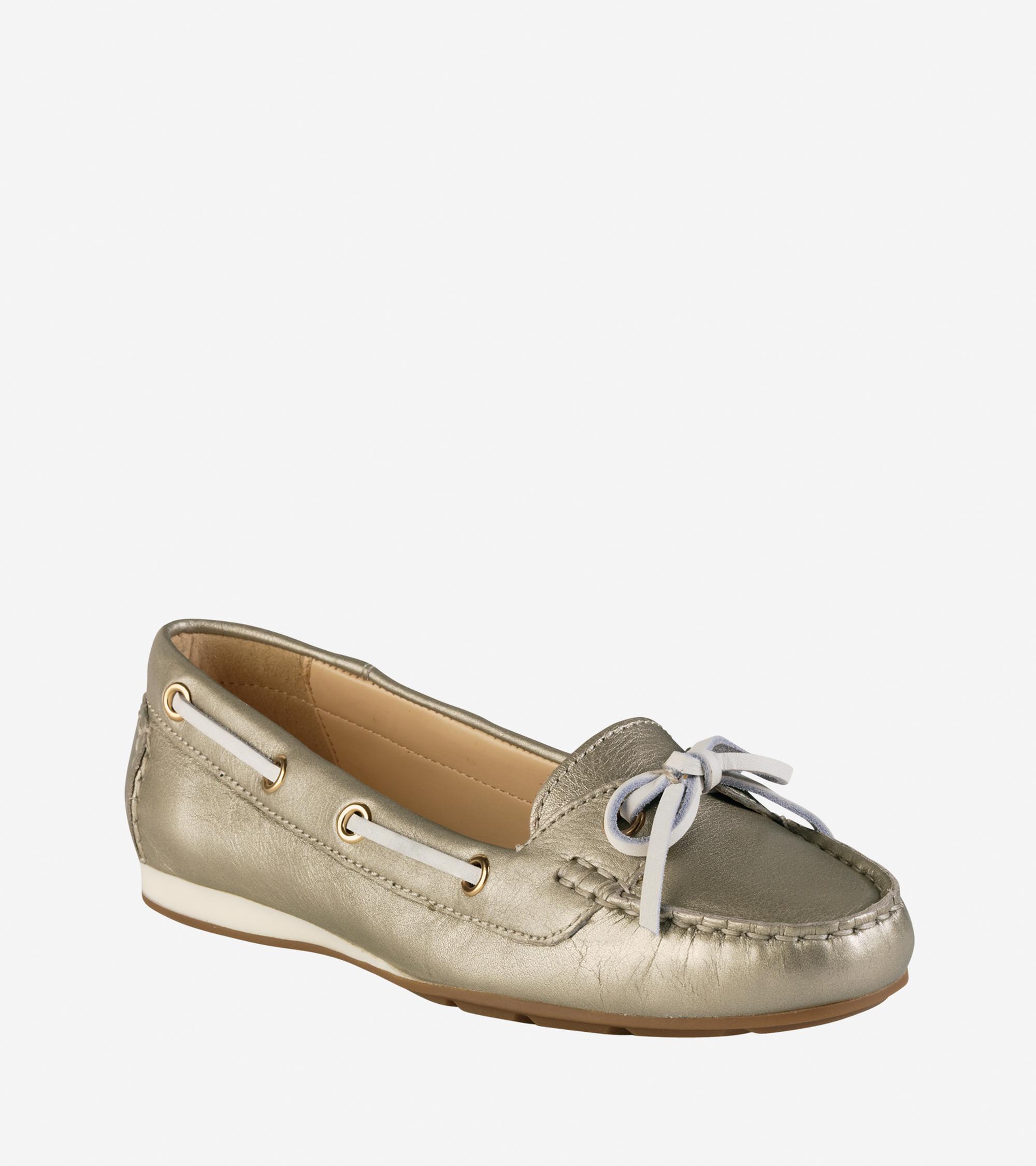 cole haan tali boat shoe in white lyst