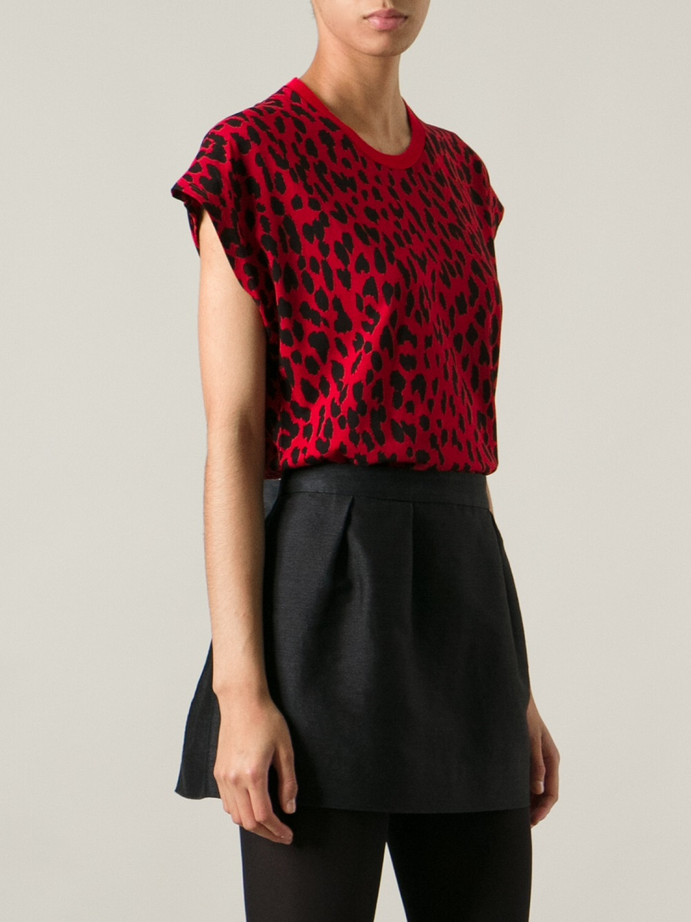 Lyst Saint Laurent Leopard Print Tshirt In Red