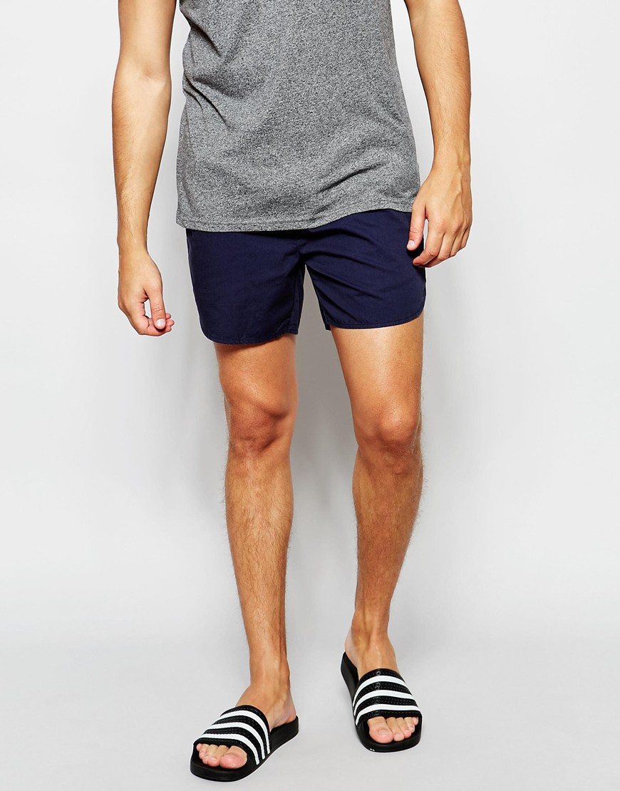 Asos Chino Shorts With Elasticated Waist In Navy in Blue for Men ...