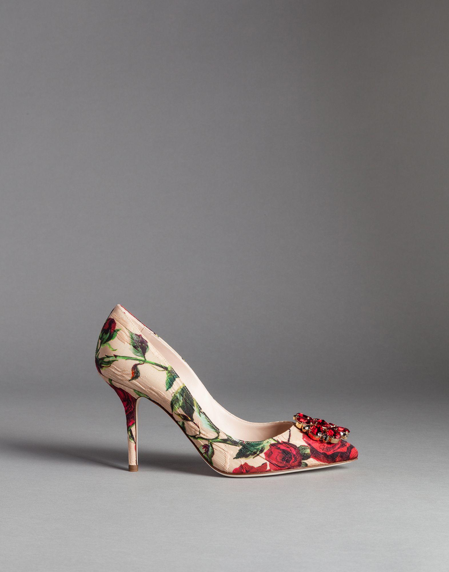 5bbcd34ba65 Dolce & Gabbana Rose Print Brocade Bellucci Pumps in Red - Lyst