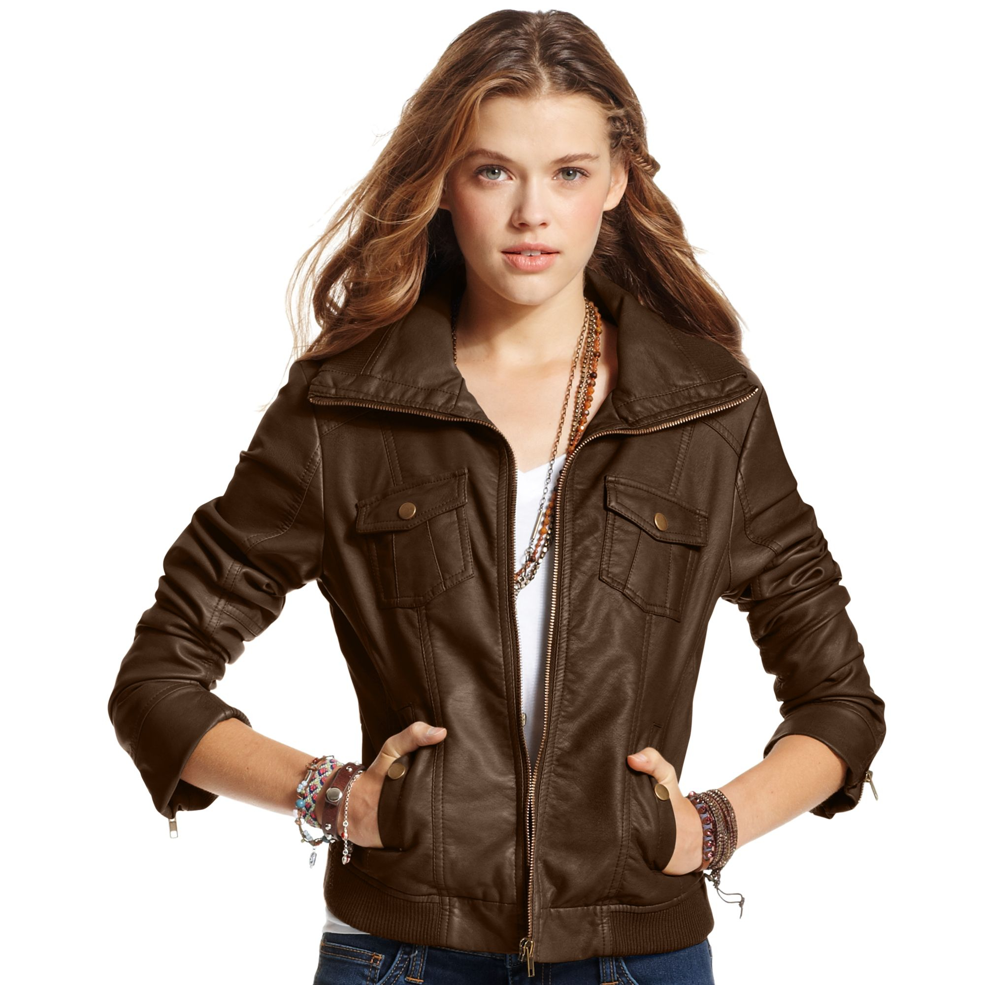 American rag Ribbed Fauxleather Bomber Jacket in Brown | Lyst