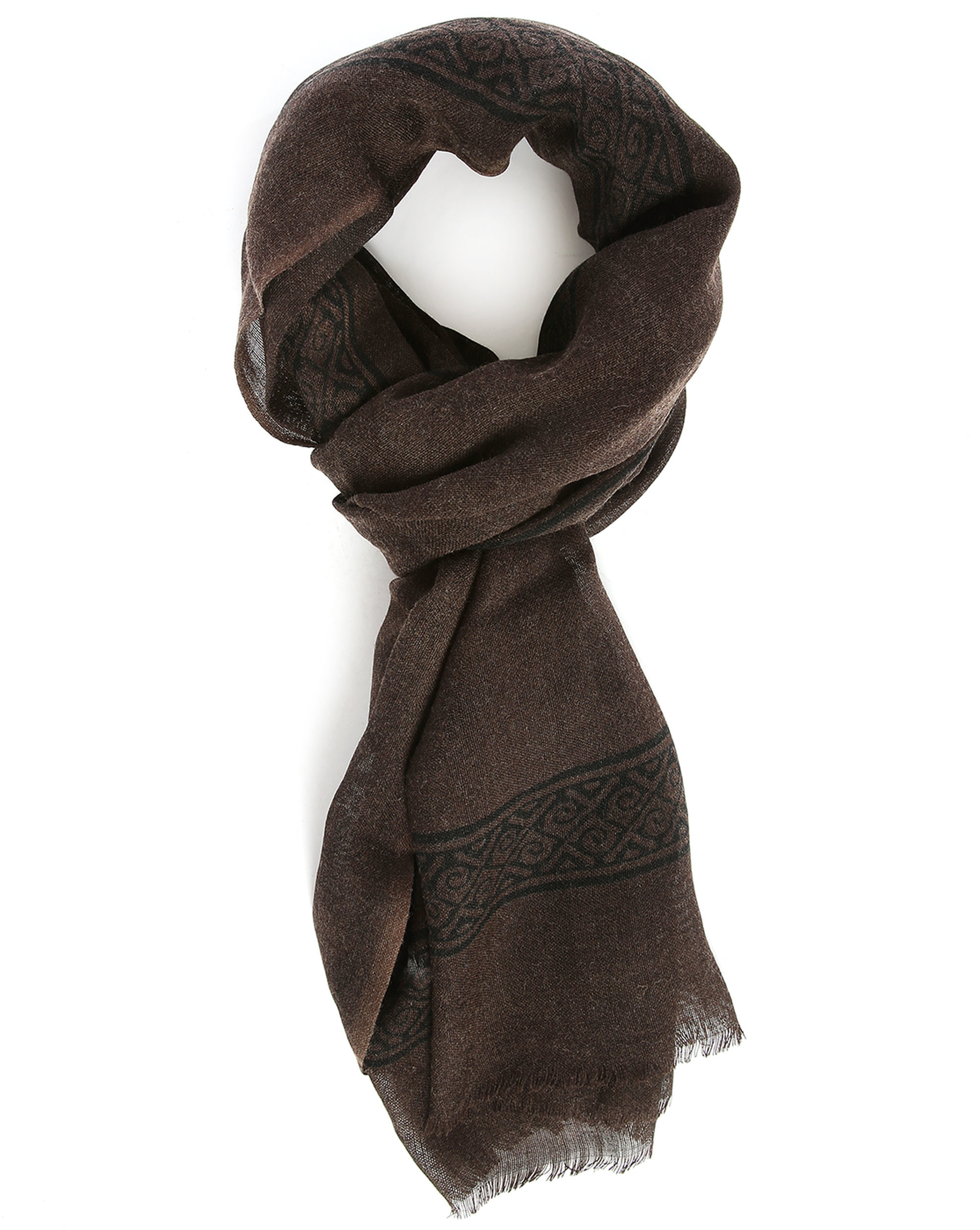m studio chocolate navy charly woollen scarf in brown for
