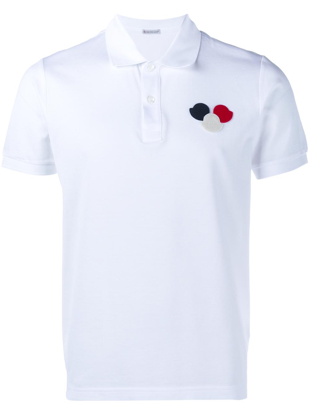 4500ab1f2 Lyst - Moncler Logo Polo Shirt in White for Men