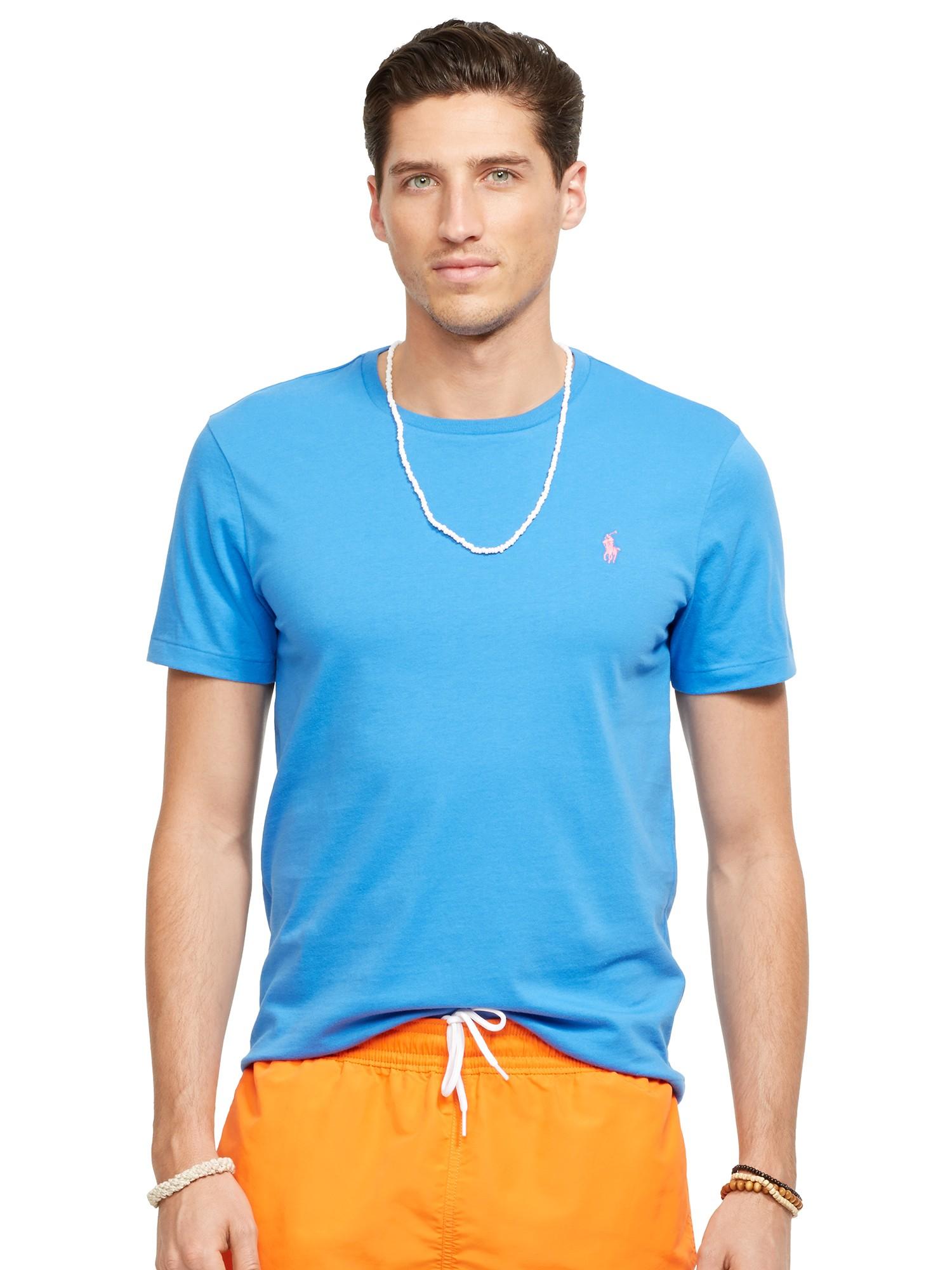 polo ralph lauren basic custom fit t shirt in blue for men. Black Bedroom Furniture Sets. Home Design Ideas